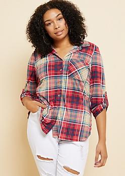Plus Red Plaid Print One Pocket Shirt
