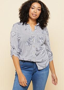 Plus White Striped Floral Print One Pocket Shirt