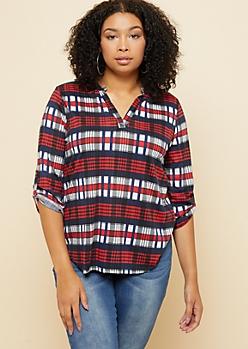 Plus Red Plaid Print Roll Tab Sleeve V Neck Shirt