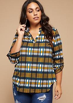 Plus Yellow Plaid Print Rolled Tab Sleeve V Neck Shirt