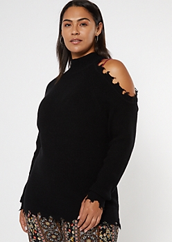 Plus Black Distressed Mock Neck Cold Shoulder Sweater