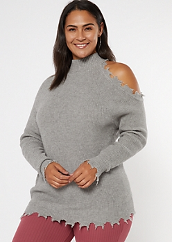 Plus Gray Distressed Mock Neck Cold Shoulder Sweater