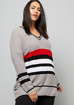 Plus Gray Varsity Striped V Neck Tunic Sweater