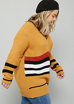 Plus Mustard Varsity Striped V Neck Tunic