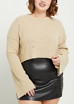 Plus Ivory Ripped Rib Knit Crop Sweater