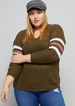 Plus Green Varsity Striped V Neck Sweater