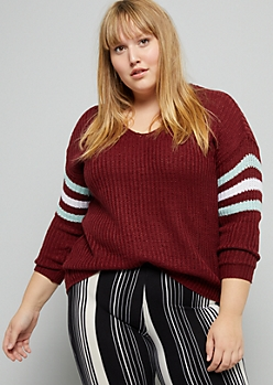 Plus Burgundy Varsity Striped V Neck Sweater