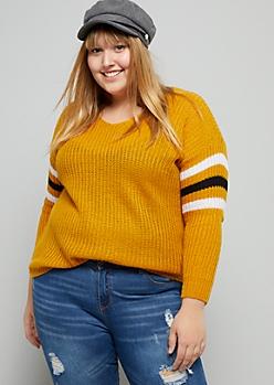Plus Mustard Varsity Striped V Neck Sweater