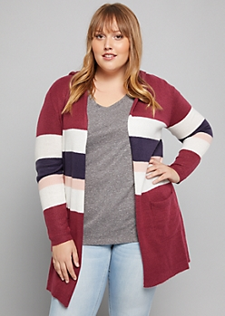 Plus Burgundy Striped Hooded Cardigan