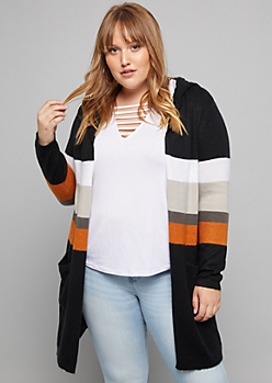 Plus Black Striped Hoodie Cardigan