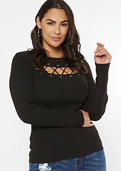 Plus Black Grommet Lace Up Keyhole Sweater