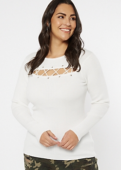 Plus Ivory Grommet Lace Up Keyhole Sweater