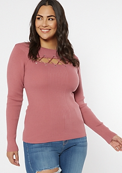 Plus Pink Grommet Lace Up Keyhole Sweater