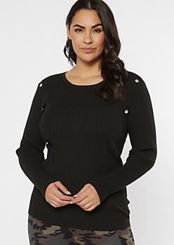 Plus Black Ribbed Knit Studded Bodice Sweater