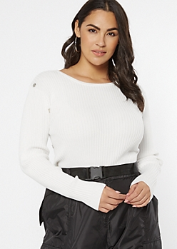 Plus Ivory Ribbed Knit Studded Bodice Sweater