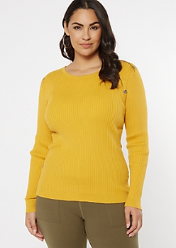 Plus Mustard Ribbed Knit Studded Bodice Sweater