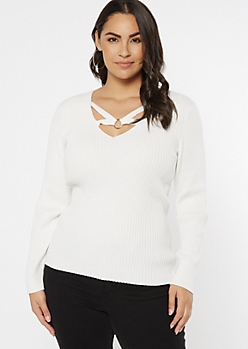Plus Ivory Strappy Ribbed Knit V Neck Sweater
