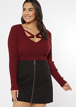 Plus Burgundy Strappy Ribbed Knit V Neck Sweater