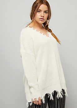 Plus Ivory V Neck Tassel Trim Sweater