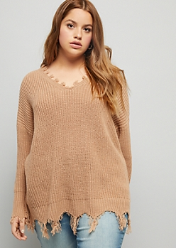 Plus Camel V Neck Tassel Trim Sweater