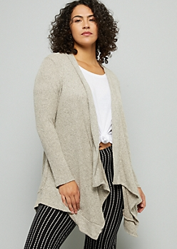 Plus Tan Tapered Lightweight Cardigan