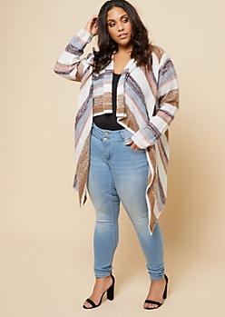 Plus Tan Striped Soft Knit Asymmetrical Shawl Cardigan