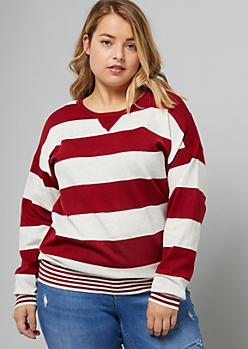 Plus Red Striped Pullover Sweater