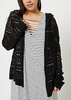 Plus Black Open Knit Hooded Cardigan