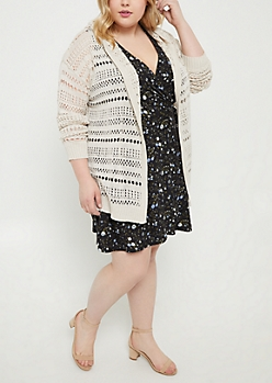 Plus Cream Open Knit Hooded Cardigan