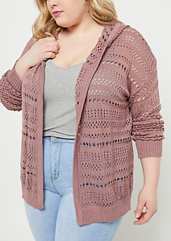 Plus Mauve Open Knit Hooded Cardigan
