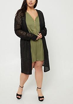 Plus Black Pointelle Knit Long Length Cardigan