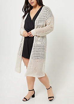Plus Cream Pointelle Knit Long Length Cardigan