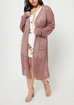 Plus Mauve Pointelle Knit Long Length Cardigan