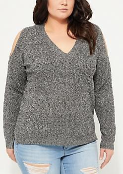 Plus Black Cold Shoulder V-Neck Knit Sweater