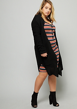 Plus Black Open Front Oversized Waffle Cardigan
