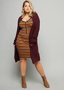 Plus Burgundy Open Front Oversized Waffle Cardigan