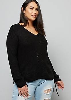 Plus Black Ribbed Knit Ruched Tie Sleeve Sweater