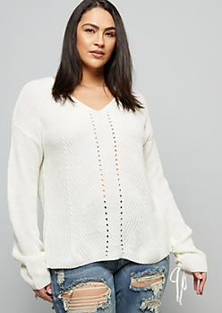 Plus Ivory Ribbed Knit Ruched Tie Sleeve Sweater