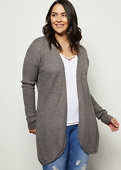 Plus Gray Curved Open Front Cardigan