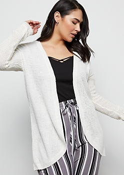 Plus Ivory Curved Open Front Cardigan