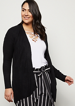 Plus Black Ribbed Knit Open Front Cardigan