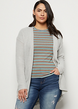 Plus Heather Gray Ribbed Knit Open Front Cardigan