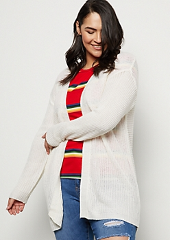 Plus Ivory Ribbed Knit Open Front Cardigan