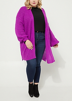 Plus Purple Boucle Knit Slouchy Cardigan