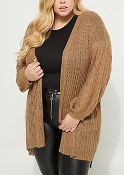 Plus Tan Boucle Knit Slouchy Cardigan