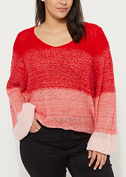 Plus Red Ombre Boucle Sweater