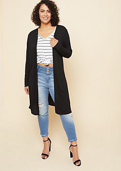 Plus Black Ribbed Knit Open Front Maxi Cardigan