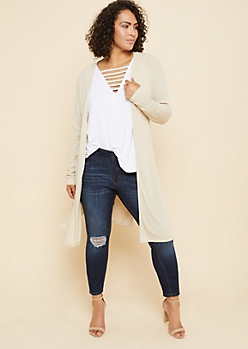 Plus Sand Ribbed Knit Open Front Maxi Cardigan