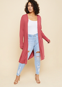 Plus Pink Ribbed Knit Open Front Maxi Cardigan