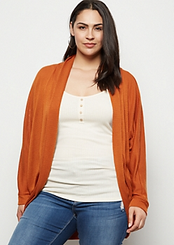 Plus Burnt Orange Lightweight Cocoon Cardigan